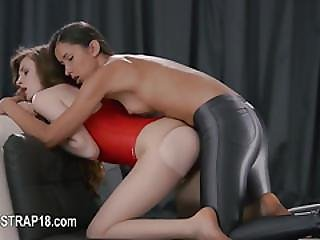 Huge Dildo In Their Hands Trying First Lesbians Bang