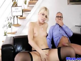 Pussyrubbing Euro Babe Riding Old Dick Ontop