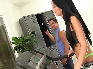 Wankz Talon Just Finished His Workout And Is Getting His Gear Out Of His Locker When He Spots Sabrina Banks With Her Pretty Panties Still On He Holds Her Long Legs Apart And Bashes Her Tight Pussy With His Crazy Fat Cock