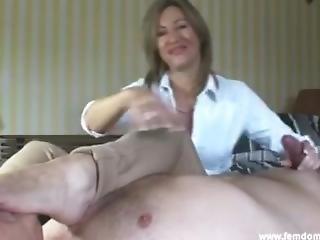 Mistress Footsniffing Handjob With Block Cumshot
