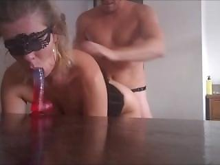 Extreme Triple Penetration. Huge Dildo Deepthroat, Stapon And Big Cock