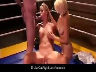 Blonde Bitch Is Double Fucked After She Catfight In Ring With Another Slut