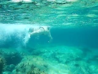 Swimming Nice Girl Crete, Nice Tits, Spycam