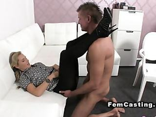 Female Agent Helps Dude Getting Hard