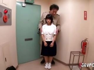 blowjob, sædshot, japansk, små bryster, uniform, ung