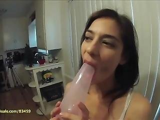 Kara Corvus Licks A Balloon All Over With Her Long Tongue
