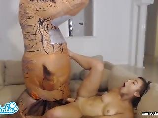 College Teen Adrian Maya Fucking Trex To Try And Squirt Like Her Lesbian