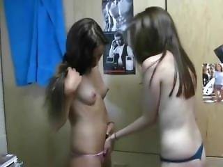 Teen Girls Dorm Room Lesbian Party With Panties Coming Off