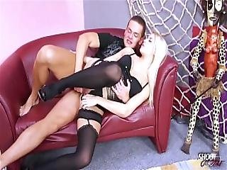 Wild Blonde In Stockings Taste Strangers Cum After Fuck
