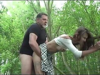 Skinny Teen Gets Railed By An Older Guy Outdoor