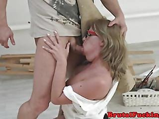 Roughly Anally Fucked Beauty Gagging On Cock