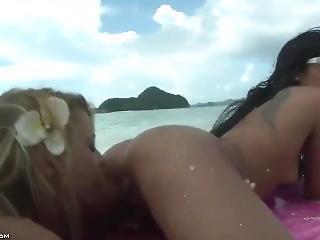 Hot Lesbian Asslicking On Beach