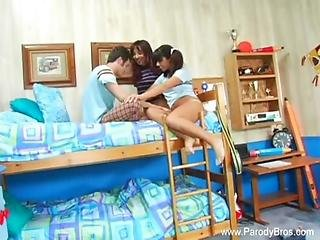 Threesome Teen Natural Rough Fucking