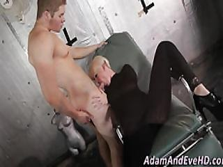Clothed Teen Sucks Cock