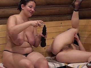 Mature Aunt, Natasha Fucks Ass, Huge Dildo!