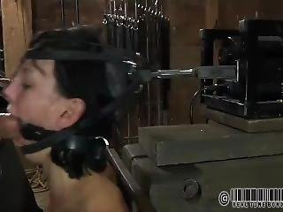Girl Plugged Into Blowjob Machine