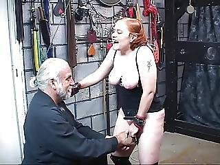 Redhead Bdsm Slut Kirsten Gets Her Nipples And Hairy Pussy Clamped