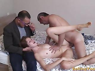 Russian Brunette Banged By A Granny Cock