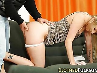 Glam Clothed Slut Cumshot