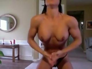 Stunningly Hot Fitness Girl Rips Off Shirt & Flexes - So Hot!