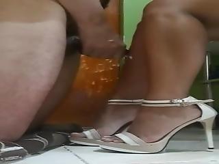 Cumshot On Her Legs