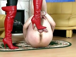 Lady In Leather Tortures Her Slaves Cick