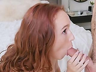 Cute Redhead Is An Expert Cock Gobbler
