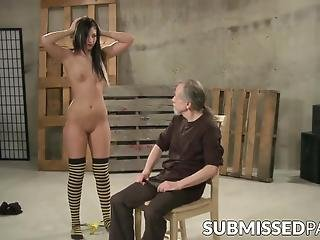 Submissive Beauty Paddled And Whipped By Mature Dom