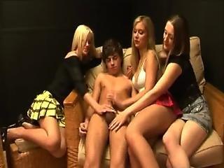 Hot cfnm femdom babes give handjob