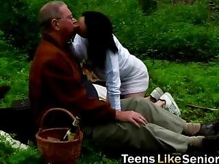 It Is A Beautiful Day So This Horny Man Goes To Nature On A Picnic And Slutty Brunette Teen Joins Him The Old Man Drills Her Wet Young Pussy Hard The Licks Her Properly