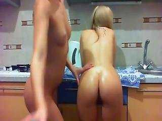 2 Girls Anal Fisting In The Kitchen