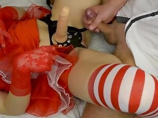 Mrs Santa Fucks Guy With Strapon - Xmas Pegging