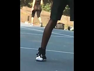 Mom In Sheer Leggings