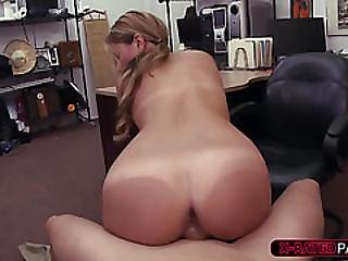 Beautiful And Blonde Waitress Ends Up Fucked By Selling Fake Purse