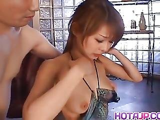 Sakurako Sucks Cock And Rubs Them With Tits