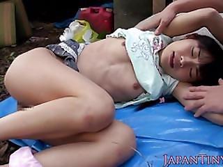 Tiny Japanese Babe Spitroasted Outdoors