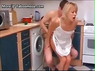 Stepmom And Son In The Kitchen - Taboomoza