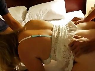 Two Strangers Spitroast My Blonde Hotwife