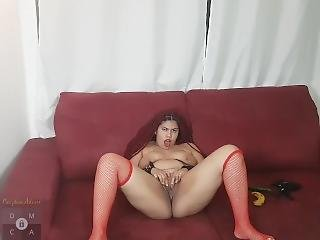 Banana And Cucumber Stretching Her Mouth And Pussy