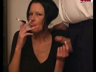 Classy Ladies Inhaling Cigarette And Penis