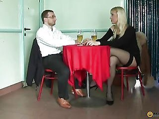 Sitting At The Table Sucking His Dick