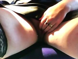 Office Solo In Leather Skirt And Stockings
