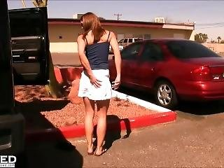 Skinny Hot Burnette Gets Naughty In Public At Bar And Naked Outdoors