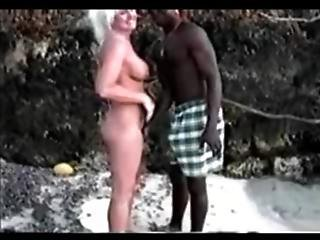 Blond Tourist Have A Nice Fuck With A Black On The Beach