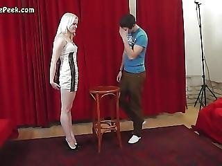 Sexy Lady In Short Dress In Backstage Video