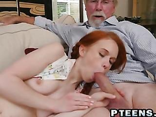 Couple Of Horny Old Dudes Share Slutty Young Ginger With Petite Body