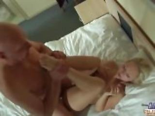 Teen blonde cum eating after fucking step dad