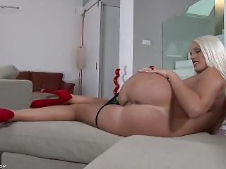 Blonde Blanche Bradburry Strips And Teases, Showing Her Sexy Body