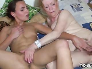 Lesbian Granny Has Hairy Pussy Rubbed