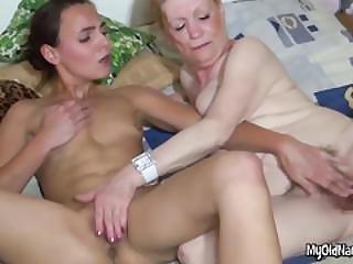 Lesbian Granny Has Hairy Pussy Rubbed